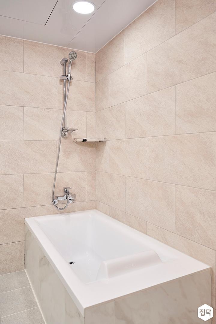 베이지,심플,모던,샤워기,욕조,화장실