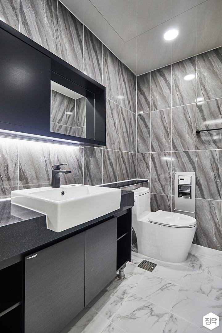 욕실,모던,그레이,수납장,젠다이,간접조명,다운라이트조명
