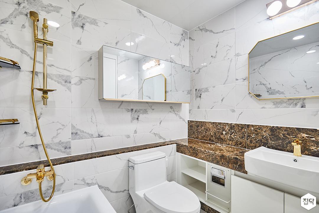 욕실,럭셔리,골드,비앙코카라라패턴,젠다이,세면대,거울장