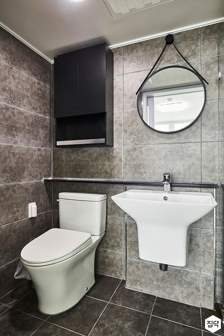 욕실,그레이,모던,젠다이,거울,세면대,수납장,양변기