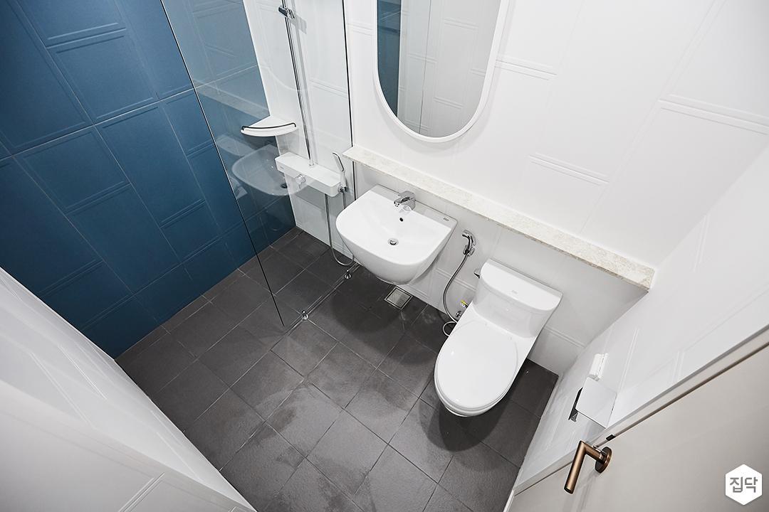 욕실,세면대,양변기,파티션,그레이,화이트,모던,블루