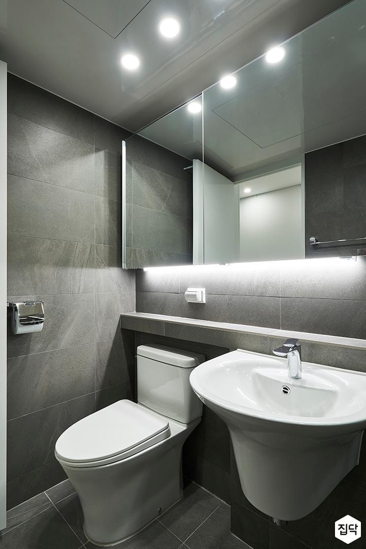 욕실,모던,그레이,슬라이딩거울장,젠다이,간접조명,다운라이트조명