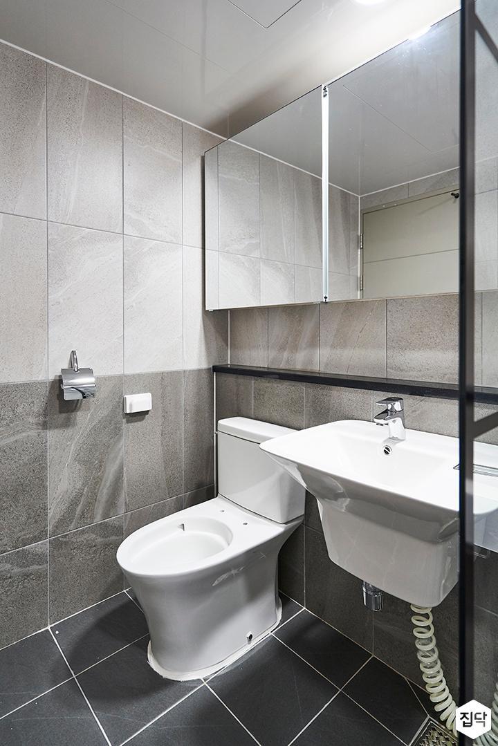 욕실,그레이,파티션,젠다이,슬라이딩거울장,세면대,세라믹타일
