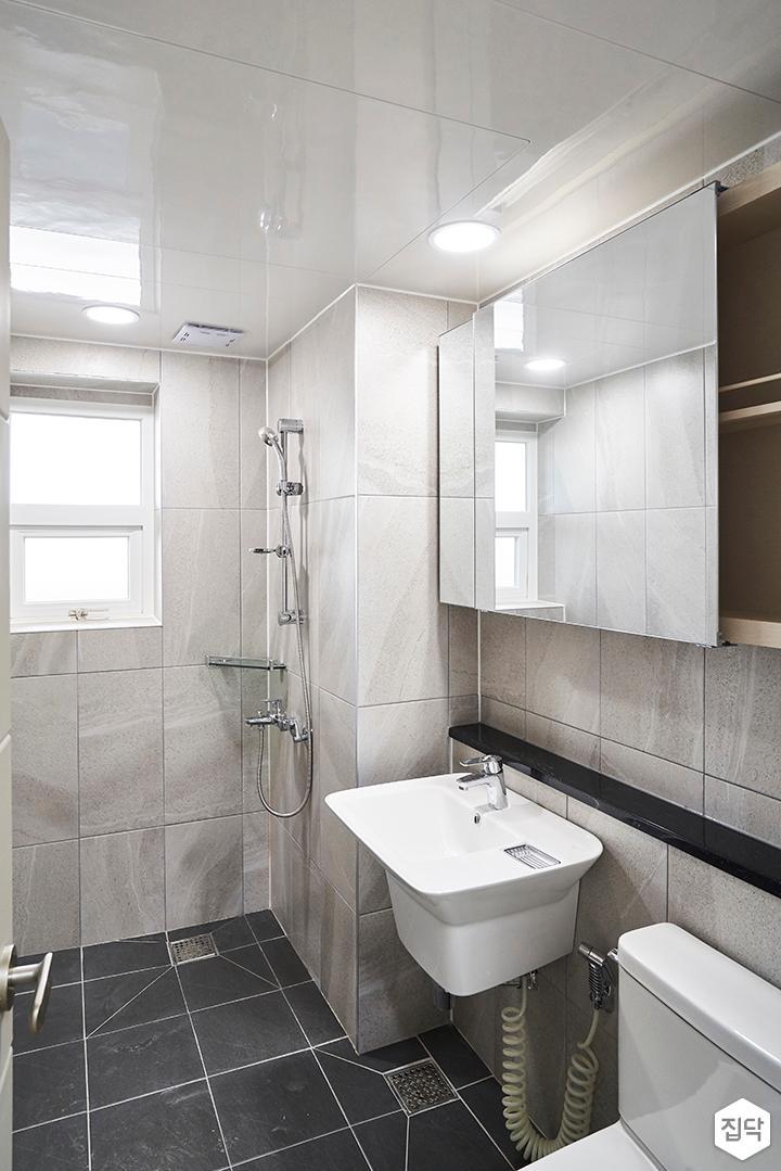 욕실,모던,그레이,젠다이,슬라이딩거울장,세면대,세라믹타일