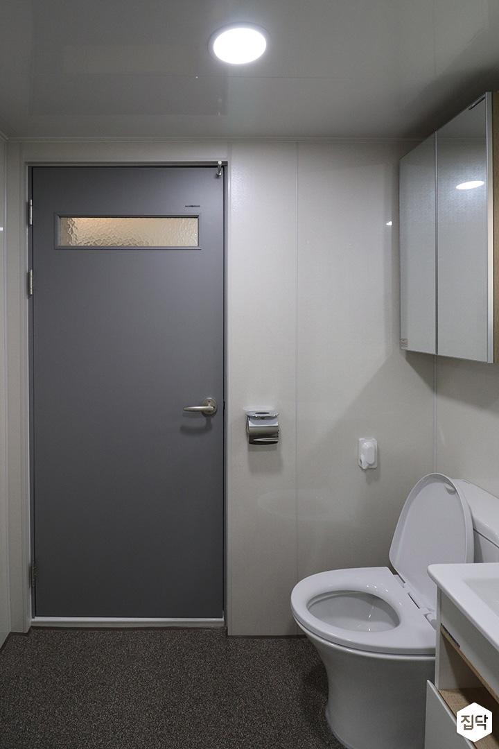 욕실,화이트,심플,다운라이트조명,그레이