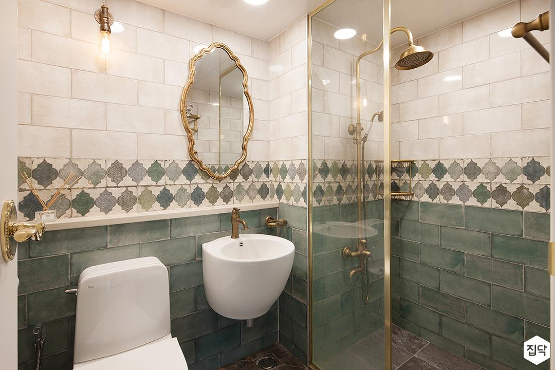 욕실,럭셔리,세면대,가벽,유리파티션,북유럽패턴,골드