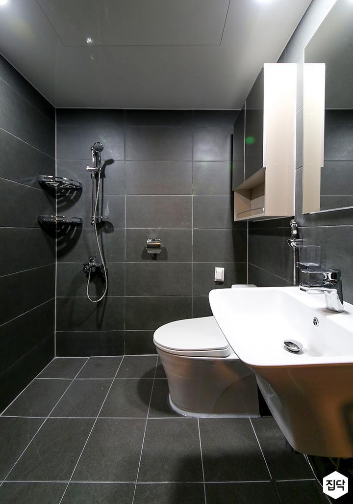 욕실,심플,그레이,수납장,세면대,코너선반