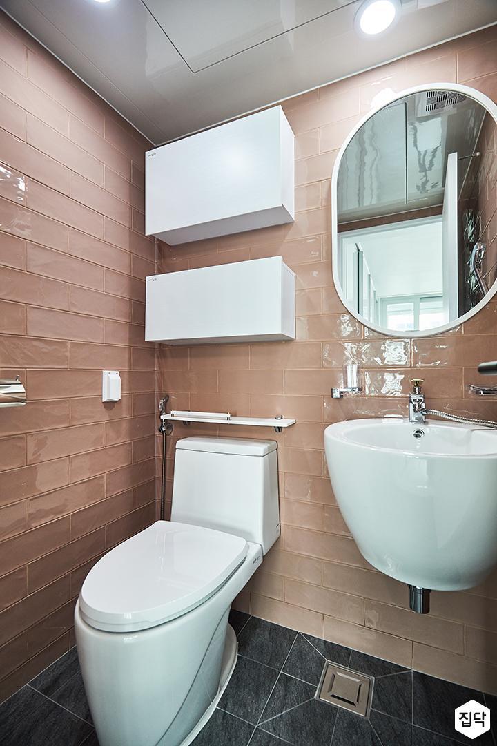 욕실,심플,핑크,화이트,선반,세면대