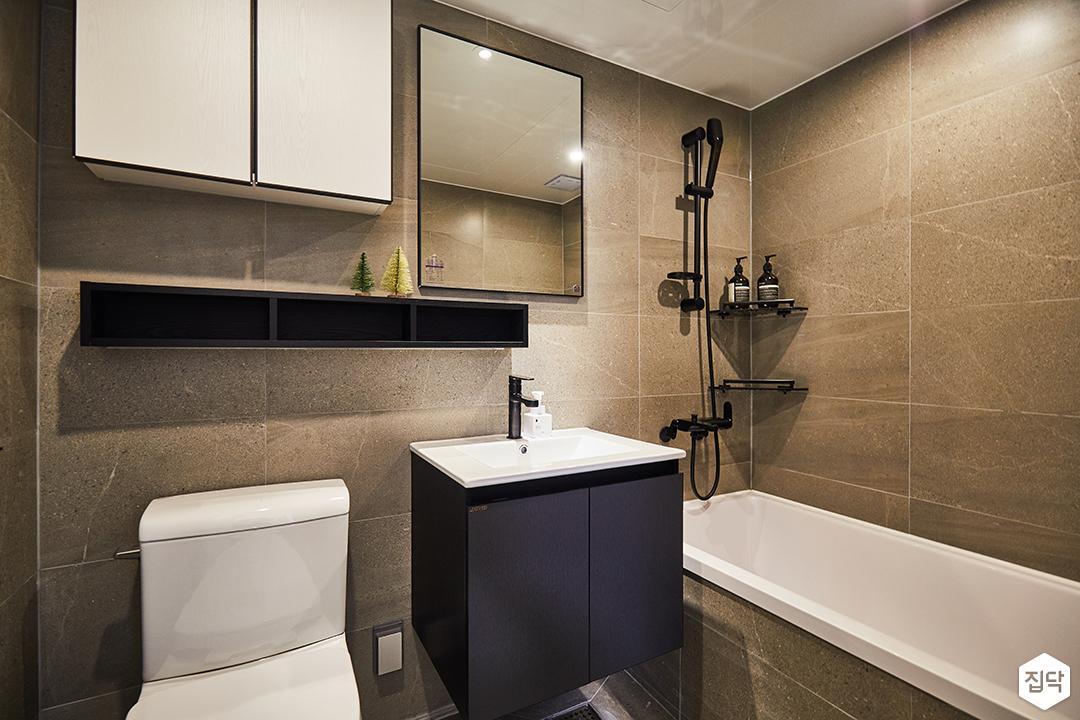 욕실,모던,그레이,무지주선반,수납장,욕조,코너선반