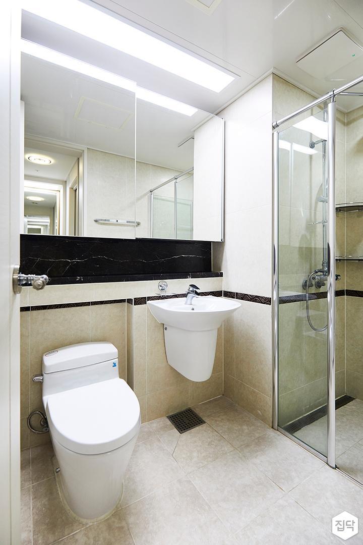 욕실,심플,그레이,슬라이딩거울장,파티션,젠다이,세면대