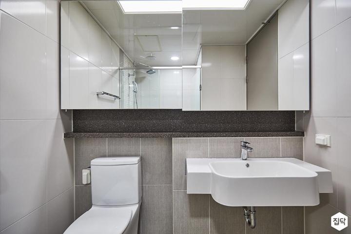 그레이,심플,슬라이딩거울,수납거울,세면대,화장실