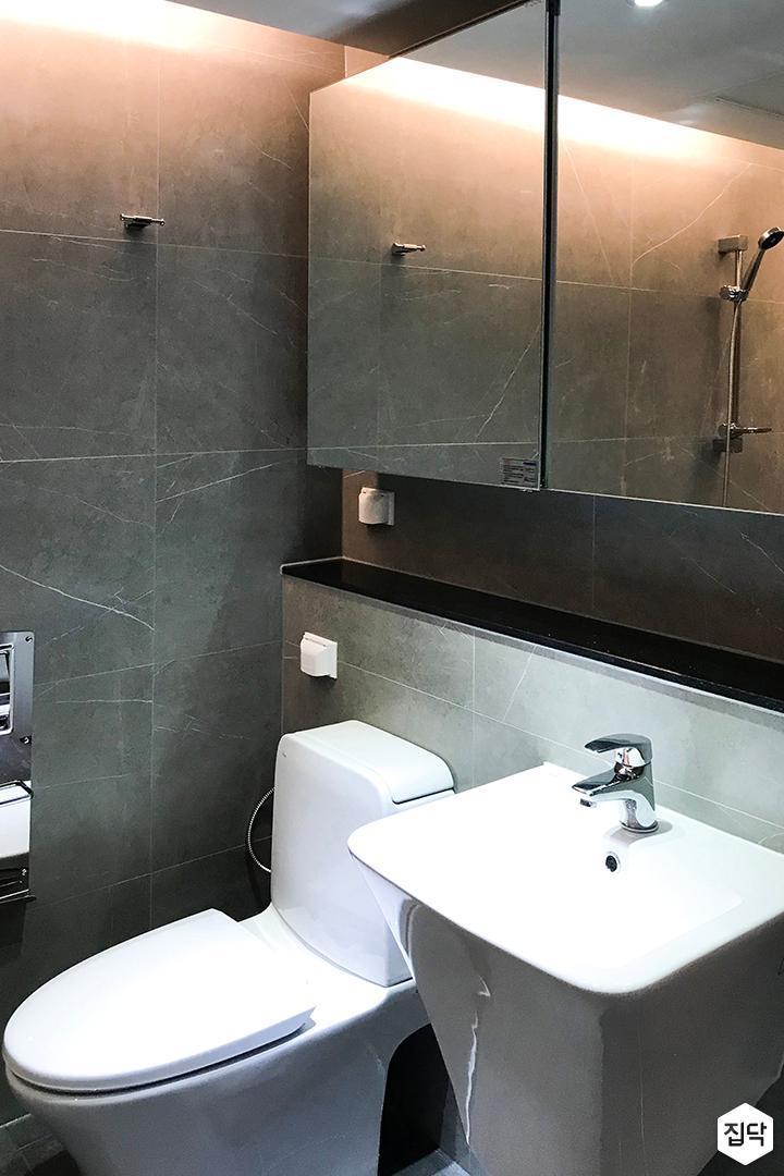그레이,심플,모던,세면대,슬라이딩거울,수납거울,욕실