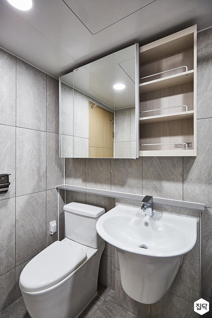 욕실,그레이,슬라이딩유리수납장,세면대