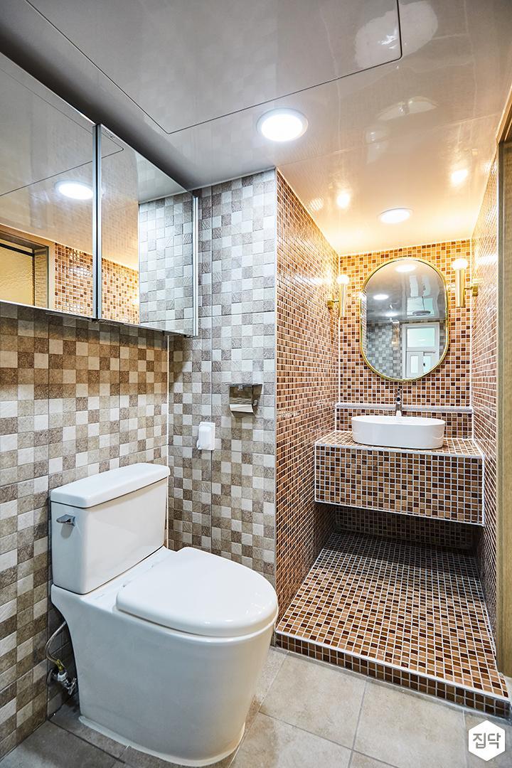 그레이,핑크,패턴타일,욕실,화장실,세면대