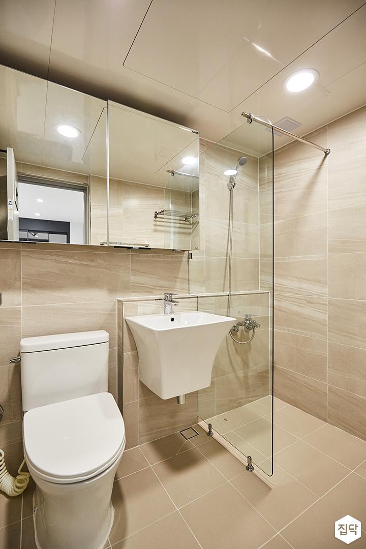 욕실,슬라이딩거울수납장,유리파티션