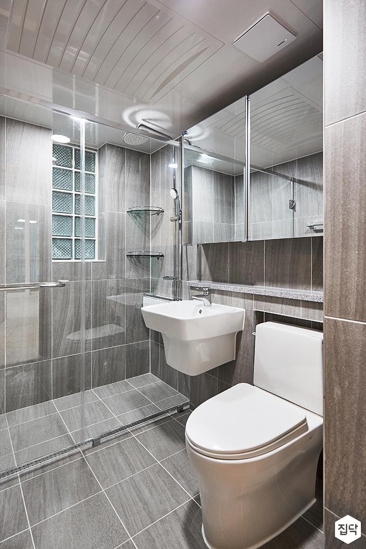 그레이,모던,심플,욕실,슬라이딩거울장,유리파티션,샤워부스,세면대