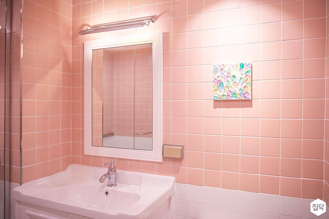 핑크,모던,내츄럴,모자이크타일,거울,세면대,욕실