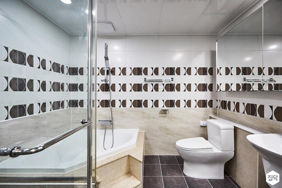 화이트,모던,심플,패턴타일,욕조,욕실