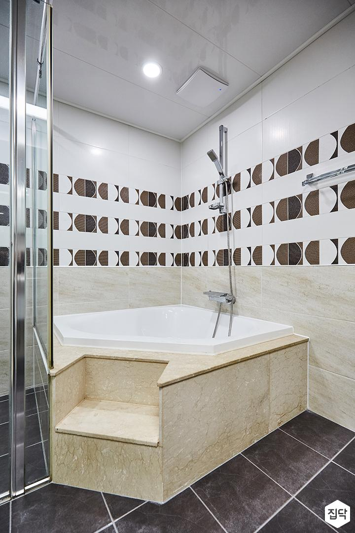 화이트,베이지,모던,심플,욕조,샤워기,욕실