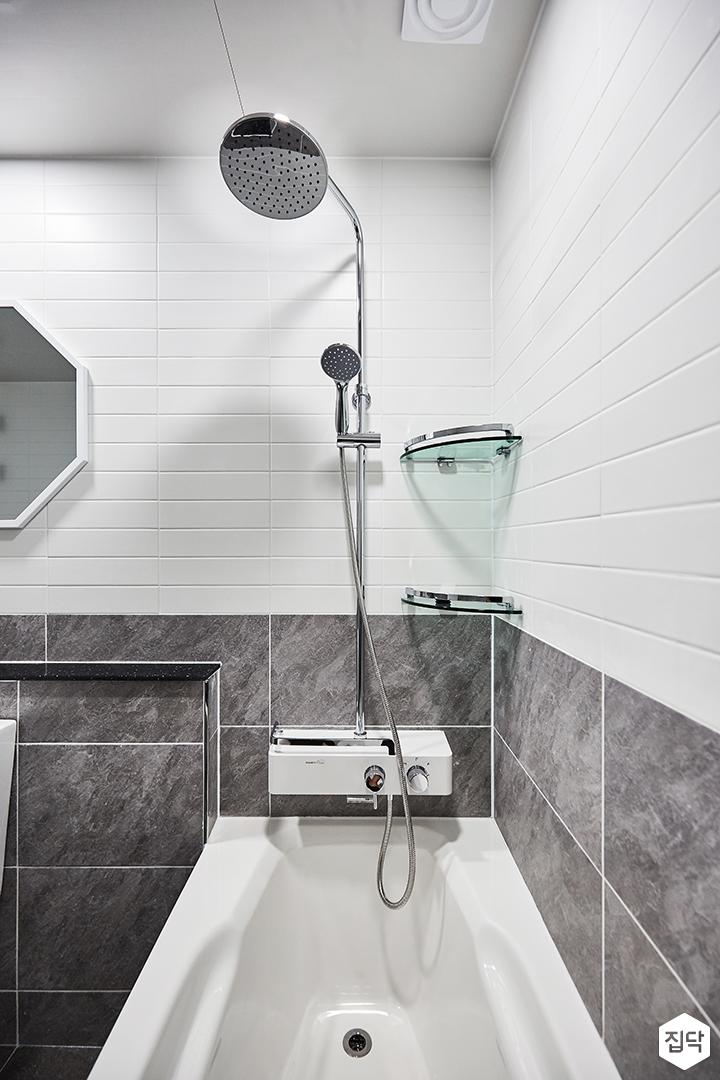 화이트,그레이,모던,심플,샤워기,욕조,코너선반,욕실