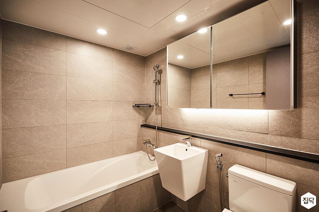 그레이,모던,심플,슬라이딩거울,세면대,욕조,욕실