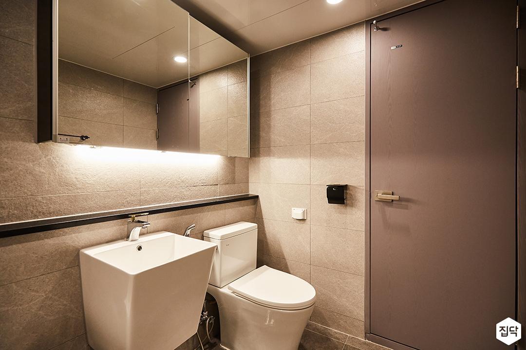 그레이,모던,심플,슬라이딩거울,세면대,간접조명,화장실