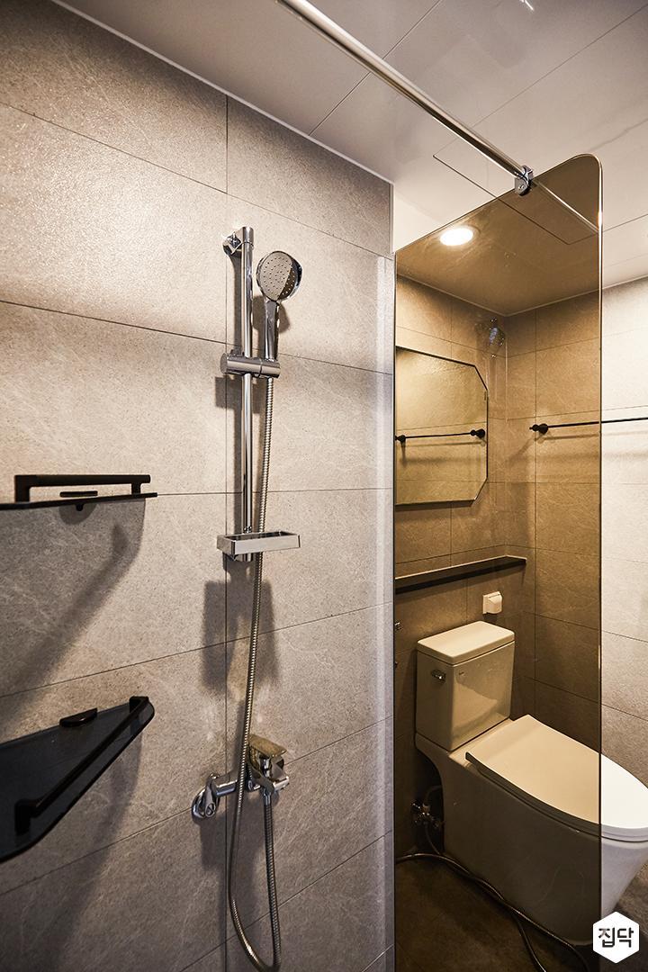 그레이,모던,심플,샤워기,코너선반,유리파티션,욕실