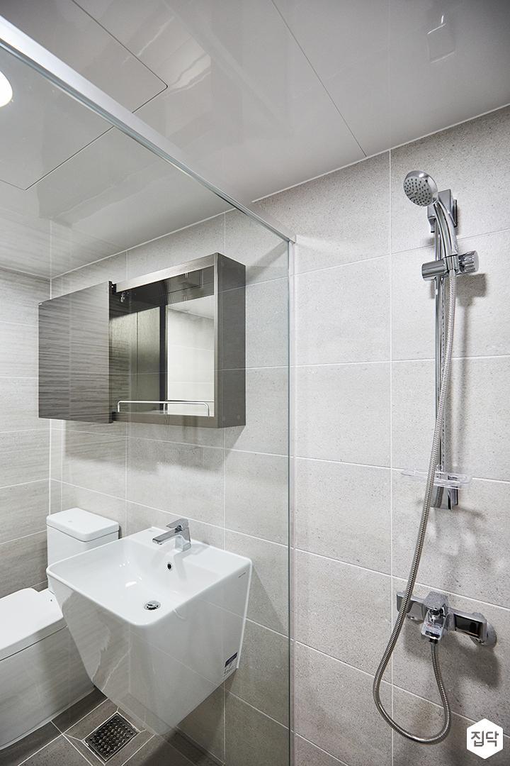 그레이,모던,심플,세면대,유리파티션,샤워기,욕실