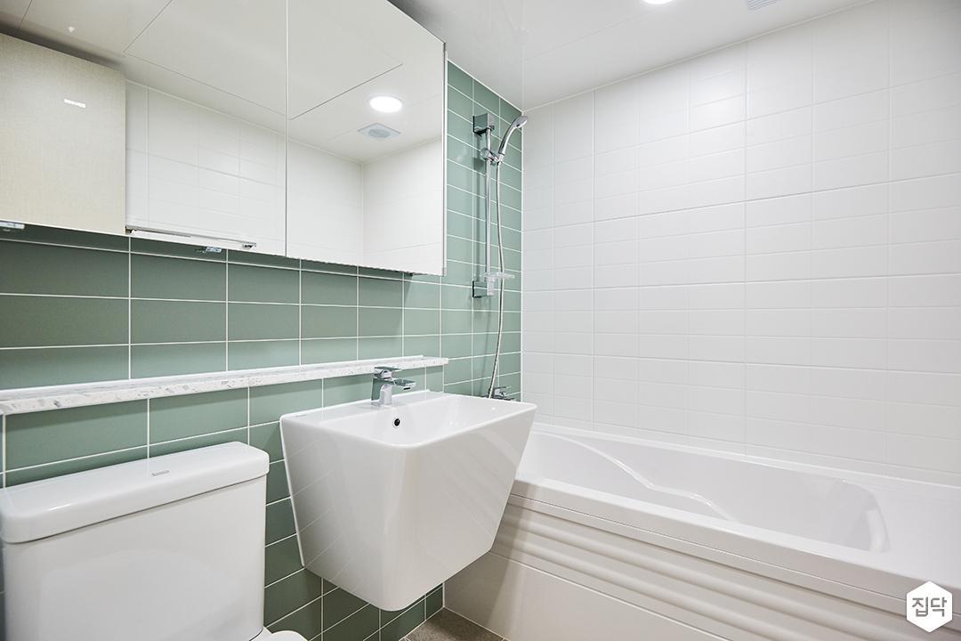 화이트,민트,모던,심플,세면대,욕조,슬라이딩거울,욕실