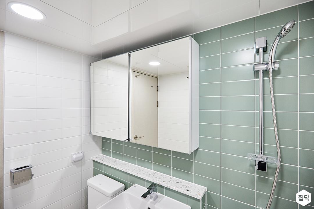 화이트,민트,모던,심플,샤워기,슬라이딩거울,욕실