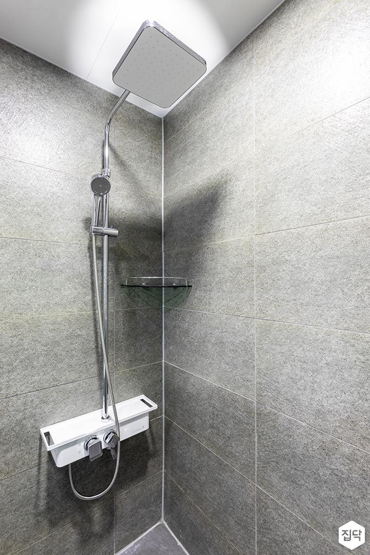 그레이,심플,모던,포세린타일,해바라기샤워기,샤워룸