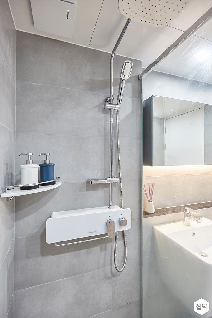 그레이,모던,선반,샤워기,코너선반,욕실