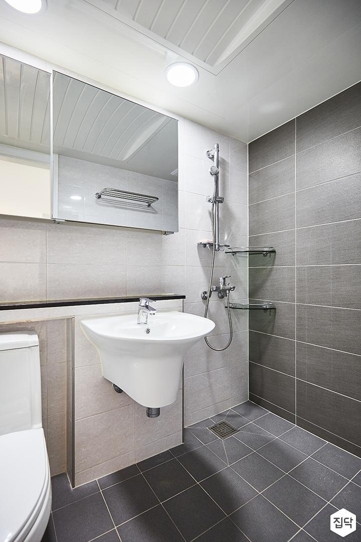 화이트,그레이,모던,심플,슬라이딩거울,세면대,샤워기,욕실