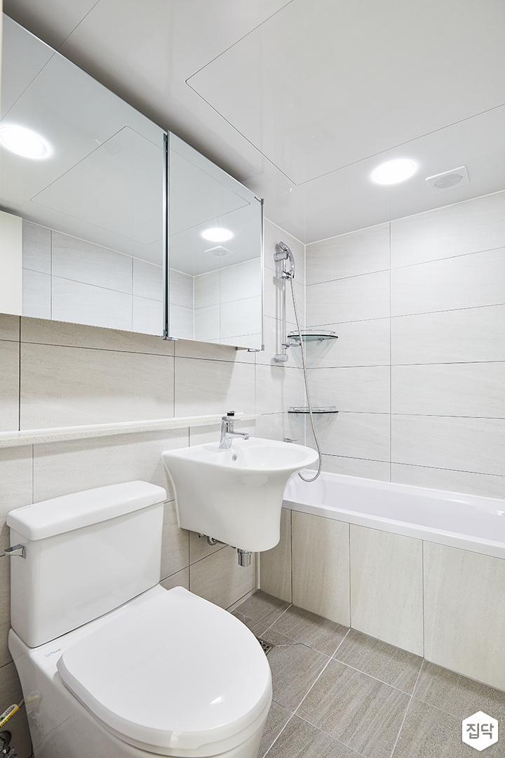 화이트,모던,심플,욕실,욕실조명,세면대,욕실수전,욕조
