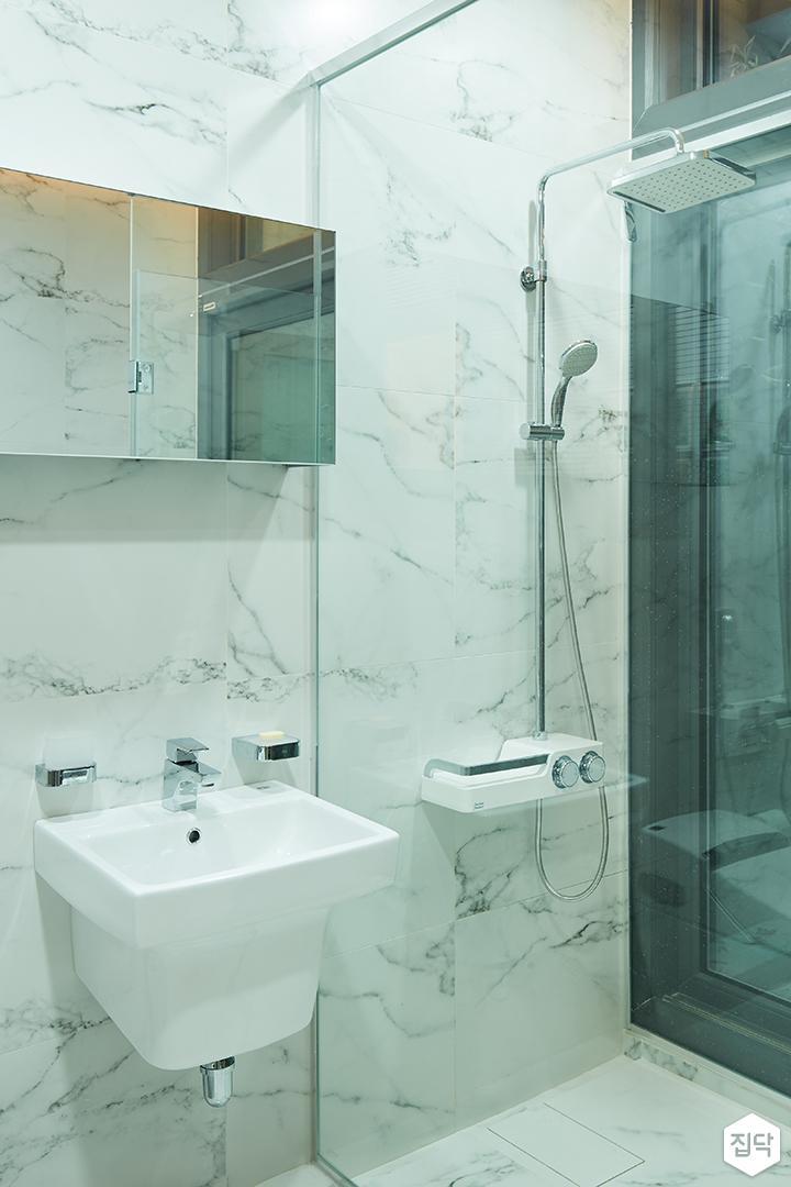 대리석,샤워부스,욕실,모던,럭셔리,거울,세면대