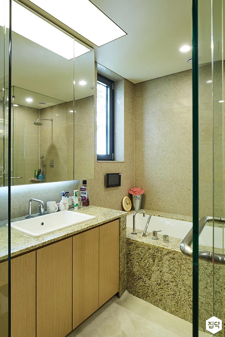 욕실,안방욕실,브라운,모던,욕조,대리석,LED조명