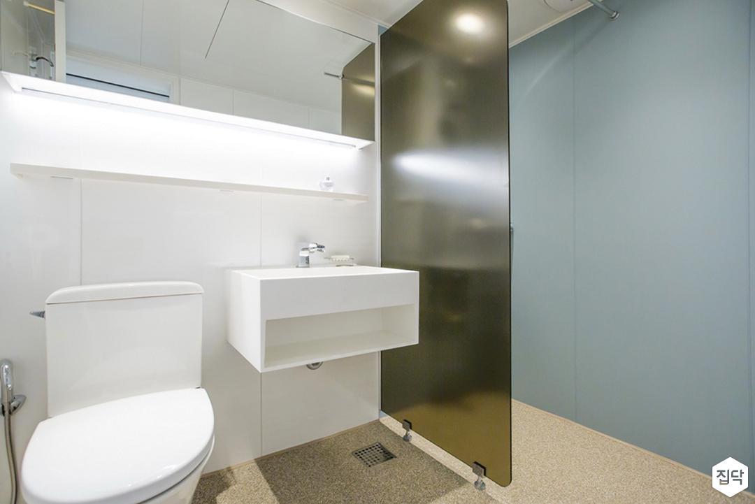 블루,심플,모던,유리파티션,수납거울,세면대,수납선반,대리석,욕실