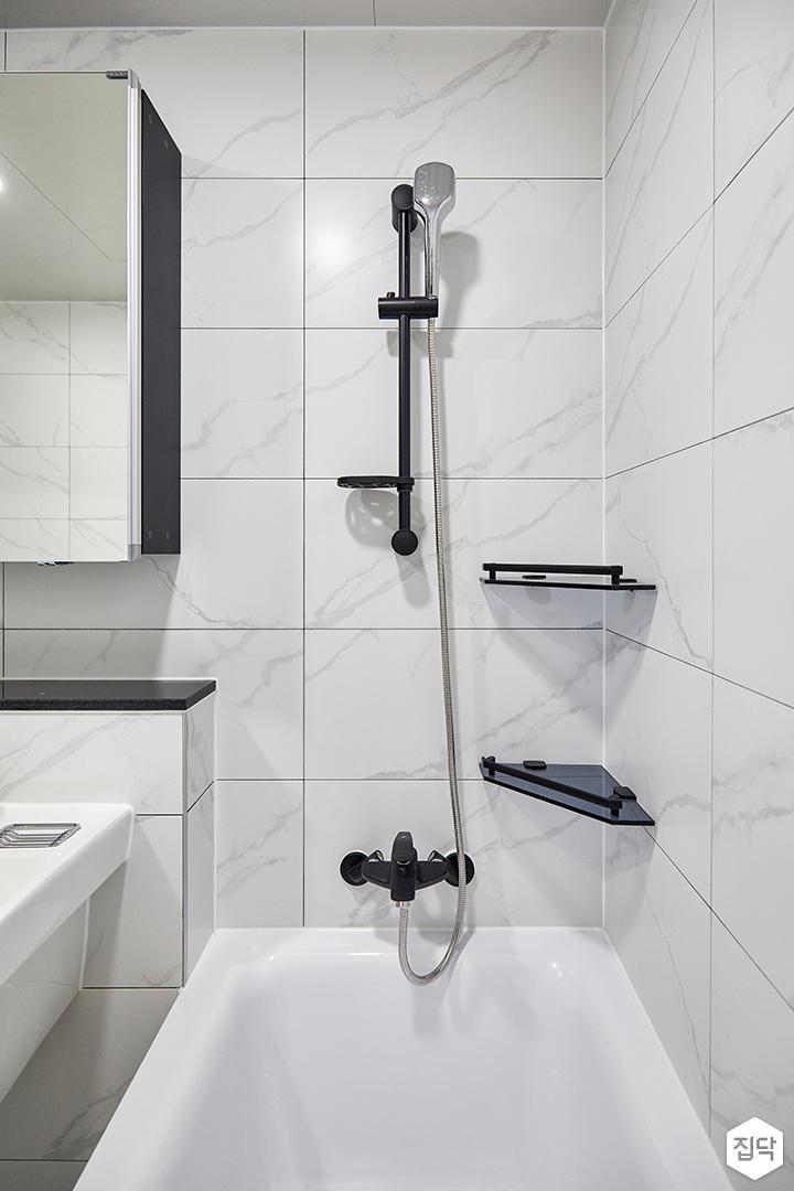 화이트,모던,심플,욕실,욕조,샤워기