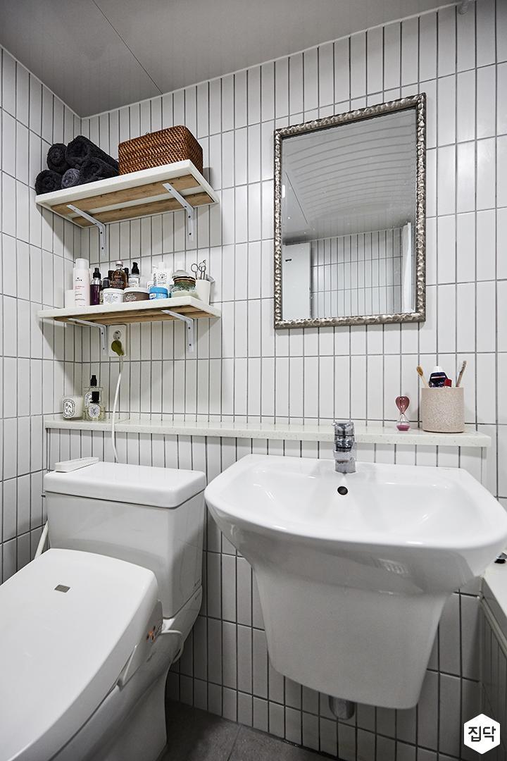화이트,내츄럴,욕실,세면대