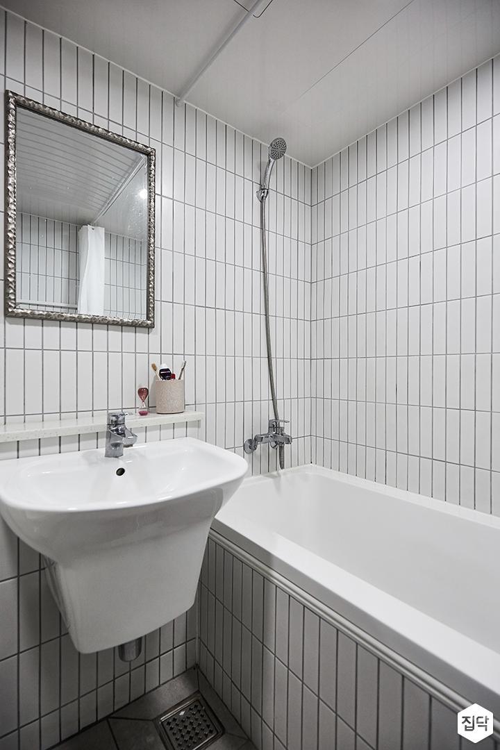 화이트,내츄럴,욕실,욕조,세면대