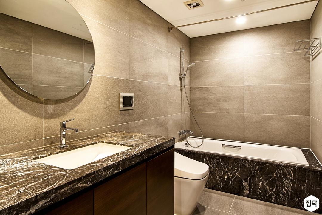 그레이,모던,심플,욕실,욕실수전,세면대,욕조,타일