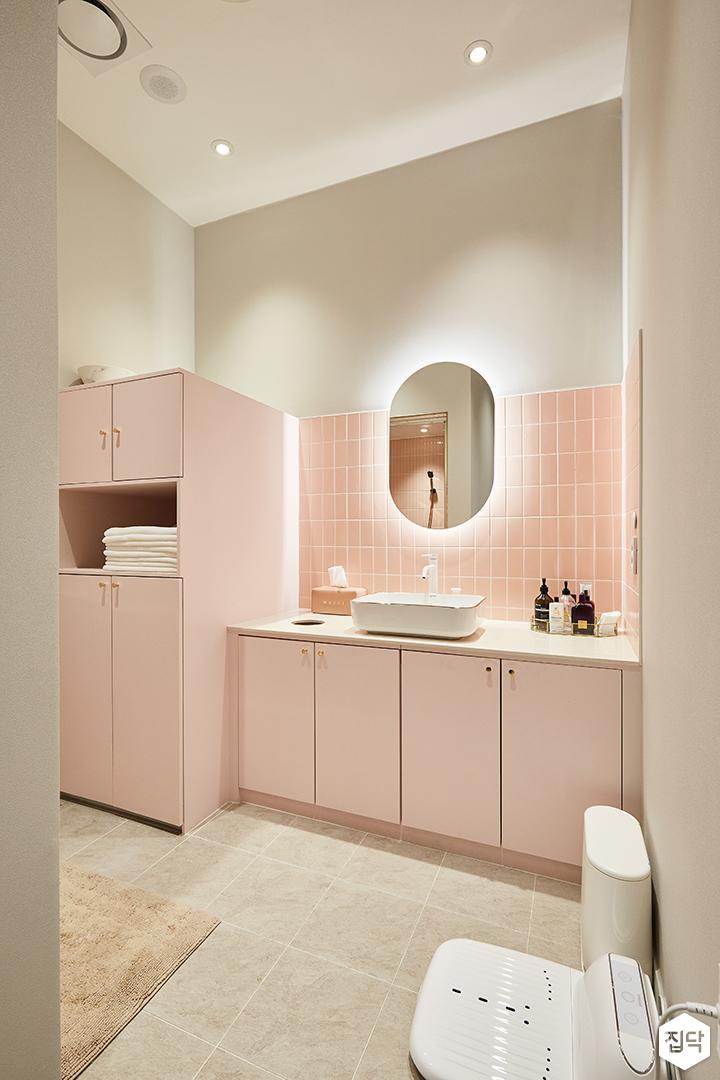 핑크,화이트,모던,심플,내츄럴,샤워실,세면대