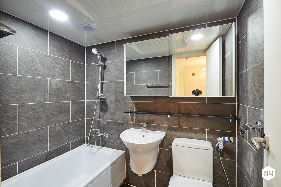 욕실,블랙,욕조,선반,벽타일
