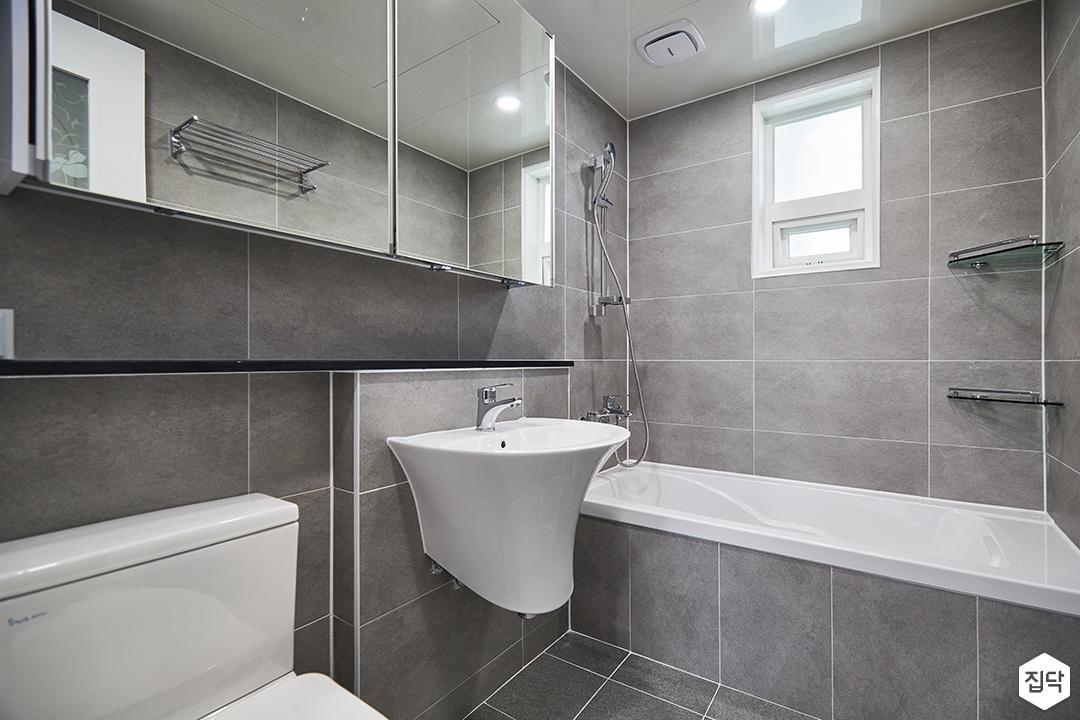 화이트,그레이,모던,심플,욕실,욕실조명,세면대,욕조,샤워기