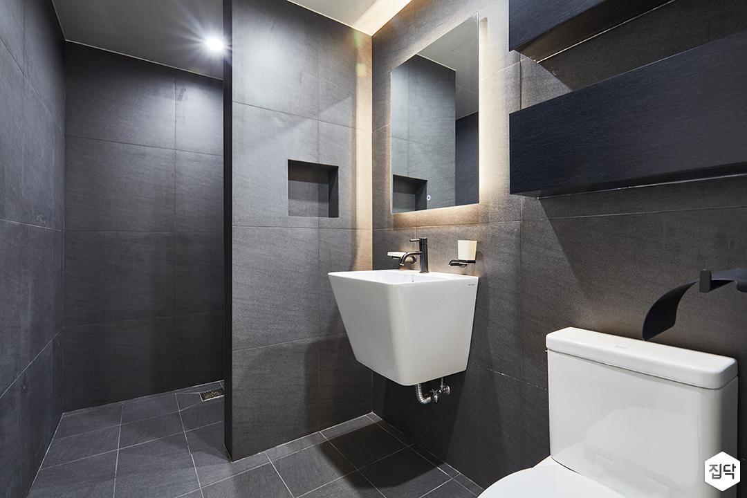 블랙,그레이,모던,심플,욕실,욕실조명,세면대