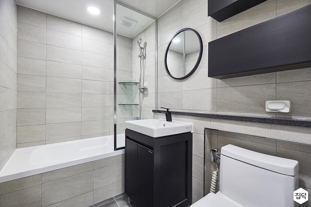 블랙,그레이,모던,심플,욕실,욕실조명,세면대,욕조,샤워기