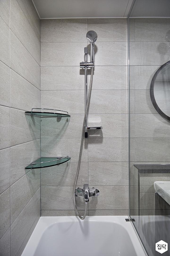 블랙,그레이,모던,심플,욕실,욕실조명,샤워기,욕조