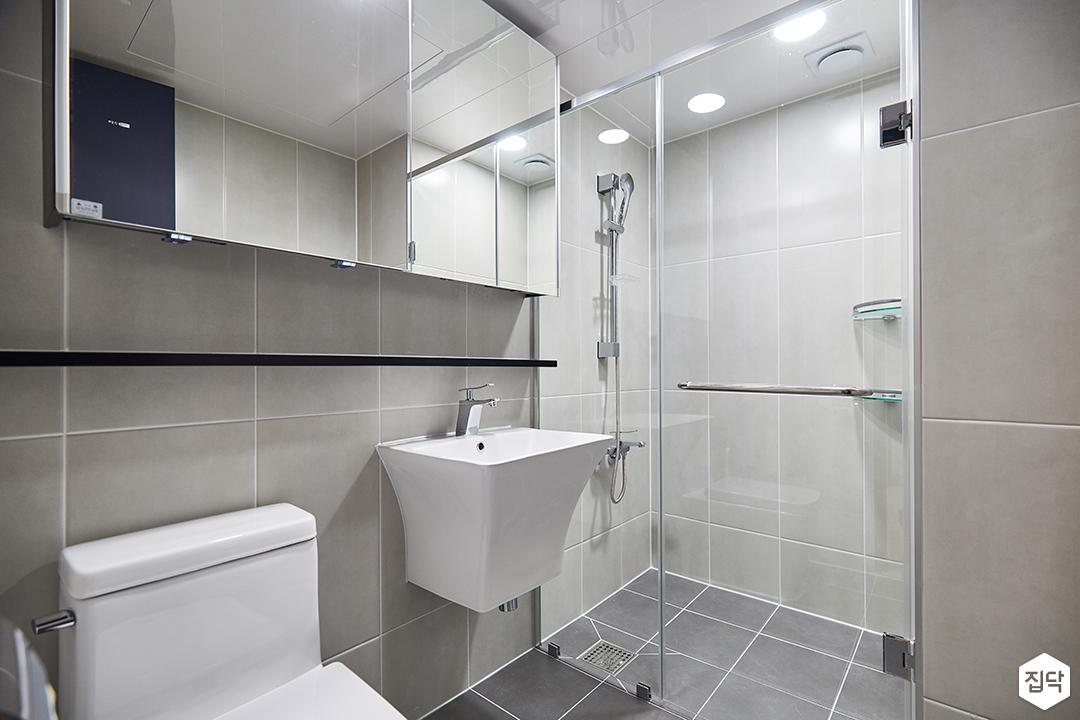 화이트,그레이,모던,심플,욕실,욕실조명,샤워기,샤워파티션,세면대