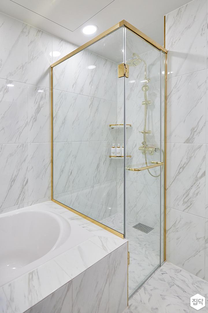 화이트,골드,럭셔리,욕실,욕실조명,욕조,샤워기,샤워파티션