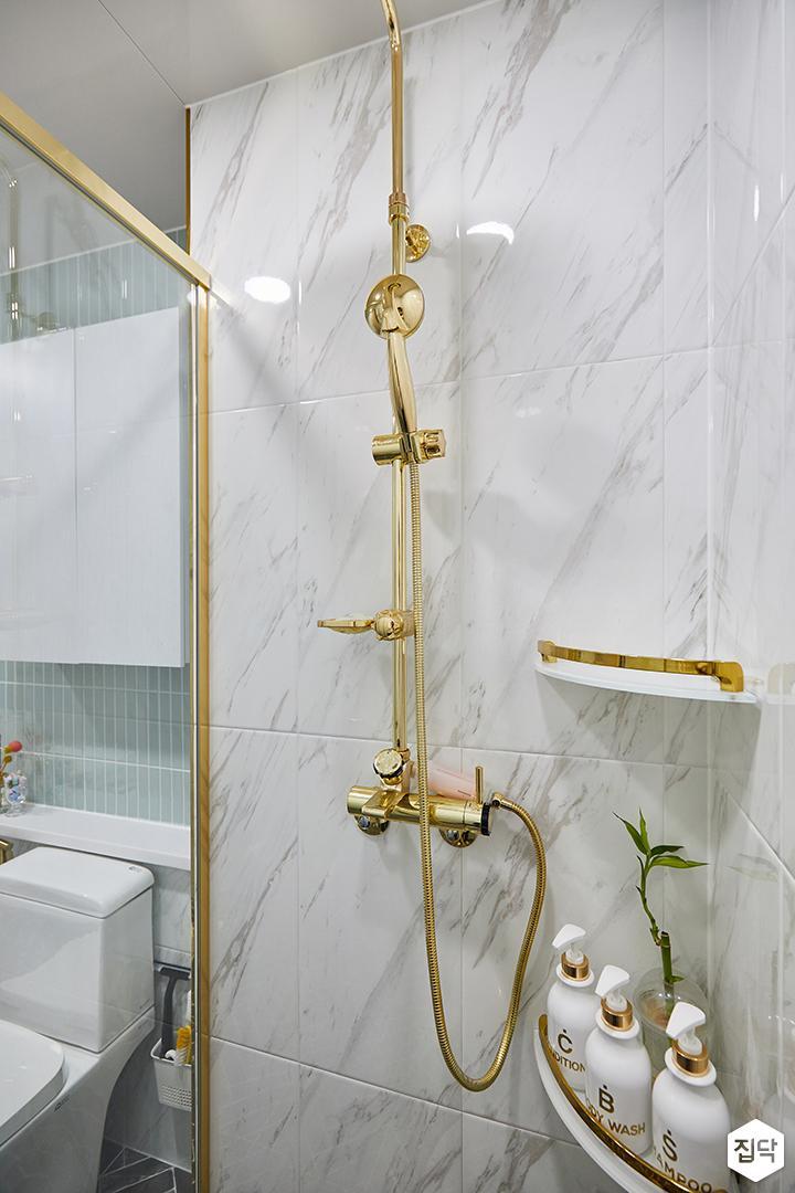 화이트,골드,럭셔리,욕실,욕실조명,샤워파티션,샤워기